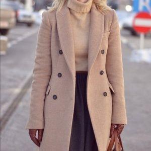 Zara camel double breasted coat
